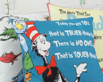 Dr Seuss Pillows Set of 3 Cat in the Hat Quote pillows - School room Childrens playroom Nursery decor Dr Seuss decor