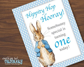 Somebunny is One Sign, Printable Peter Rabbit First Birthday Sign, DIY digital file