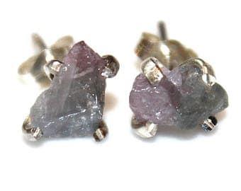 Bi-Color Tourmaline Stud Earring Tourmaline Crystal Blue Tourmaline Purple Tourmaline Crystal Earring Prong Earring Ombre Earrings