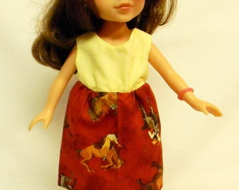 Horse Print Dress For 14.5 Inch Doll Like The Wellie Wishers