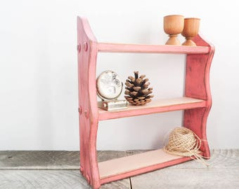 Coral Hanging Shelf - Spice Rack - Modern Shabby Chic - Coral Peach Home Decor