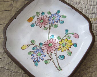 Art Deco Asian Home Decor, Small Enamel Metal Dish Tray. Floral Hand-Painted Design. Small Asian Chinese 1930's Collectibles, Ring Dish Bath