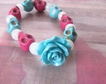 Pink & Aqua Sugar Skull Beaded Stretch Bracelet with Aqua Carved Rose