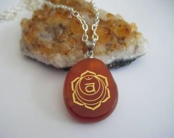 Spiritual Inspirational Healing Sacral Chakra Svadisthana Necklace Carnelian Wellness Oneness Cosmic Gemstone Crystal Eco UNISEX
