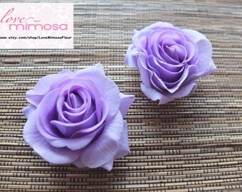 A pair of Lilac Roses Hair clips, Wedding Accessories, Wedding Hair Flowers