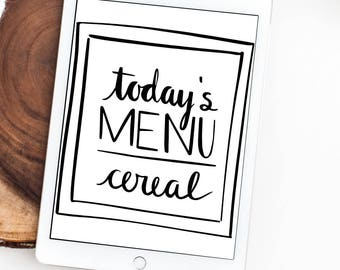 Todays Menu SVG, Menu SVG, Menu Sign, Hand Drawn, Silhouette SVG, Calligraphy Cut File, Cut File, Graphic Overlay