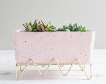 Vintage Pink Ceramic Planter with Gold Stand