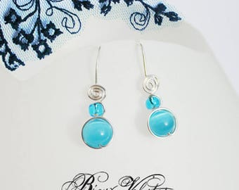 Earrings whisper, turquoise blue dangling silver plated wire