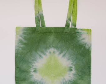 Tie dyed cotton bag, diamonds in green