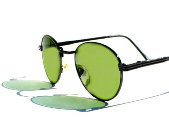 Round P3 Sunglasses / Mens Gatsby Glasses / John Lennon Glasses / Green Lenses / Black Enamel Frames / O'Malley Sunglasses