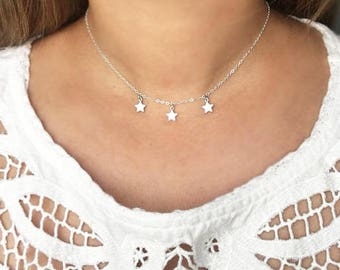 Twinkle Twinkle little star necklace, silver Star necklace, silver star choker, star jewelry, dangling star necklace, muse411, CZ  Stars