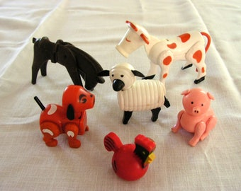 Fisher Price Barnyard Animals | vintage  | Movable Joints | Made in Hong Kong | dog pig red rooster cow horse sheep |  FP Little Barnyard