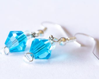Blue Diamond Beaded Earrings