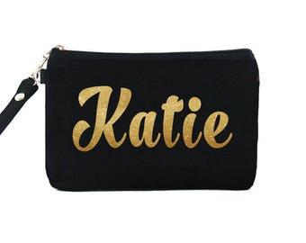 SUPER SALE - Black Clutch - ( Gold Glitter Name ) iPhone Wristlet, Credit Card Bag, Makeup Bag, Zipper Pouch - Made To Order