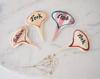 Vintage Set of Four Ceramic Sandwich Type Signs Pork Salmon Crab