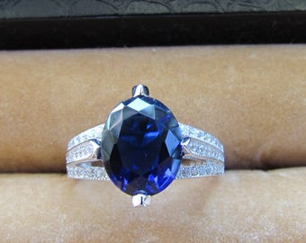 Women's Sapphire and cz ring