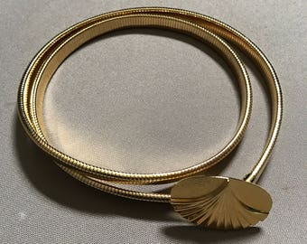 vintage Gold metal snake Stretch Belt