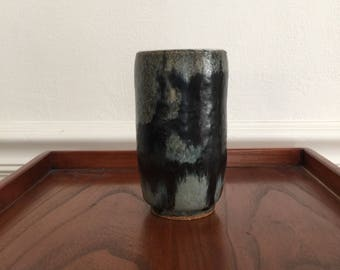 Lovely Small Vintage Studio Pot - Small Vase with Great Blues on Gray Decoration, Marked