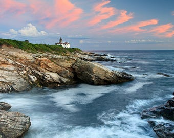 Ocean Lighthouse Wall Print, Rhode Island Coastal Photography, Beavertail Lighthouse Summer Sunset, Jamestown RI Photo, Large Seascape Art