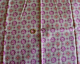 Purple cotton with small Peacock fabric