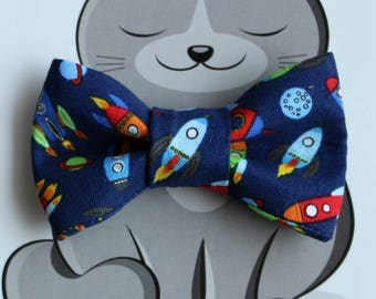 Rockets Bow Tie for Cat or Dog, Pet Clothing, Slide on Collar Accessory, Pet Bowtie, Handmade in Canada, Navy Blue, Rocket Ships