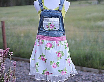 Bib Overall Tunic Dress / Rustic Romantic Women's Bibs / Floral Overalls