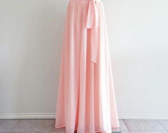 Light Pink Bridesmaid Skirt. Long Evening Skirt. Light Pink Floor Length Skirt. Chiffon Maxi Skirt.