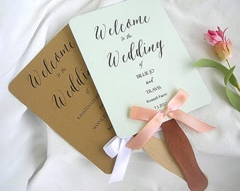 Wedding Fans Rustic Wedding Program Fans Mint Green Rustic Wedding Programs Paddle Fan Program Custom Any Color