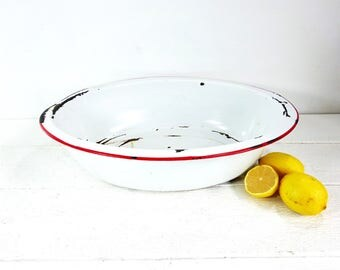 Vintage Enamelware Large White Red Oval Basin