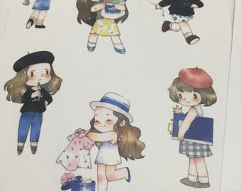 2 Sheets of Limited Edition Washi Paper Stickers- Cute Girls