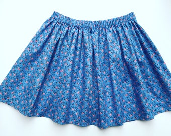 Blue Flower Skirt, Girls Circle Skirt, Girls Flared Skirt, Twirly Skirt, Girls Skater