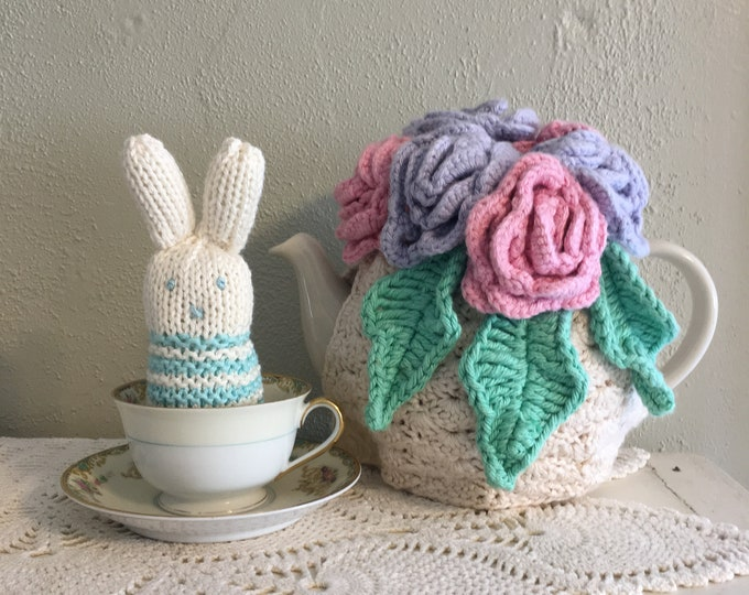 Turquoise Striped Teacup Bunny, Miniature Easter Bunny