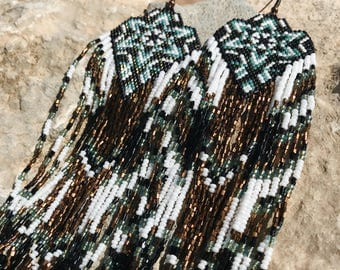 Beadwork, multistrand earrings, fringe beadweaving, forest, magical, nature, natural, brown,native american