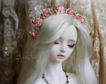 Pink Precious flower handmade headband wreath corolla for bjd dollfie sd 7-9 inch size dolls heads pullip taeyang
