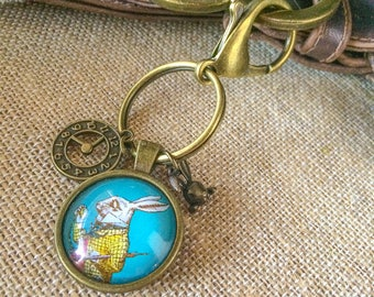 Alice In Wonderland White Rabbit KeyChain / White Rabbit with Pocket Watch Key Chain /Purse Decor /Purse Clip/Women's Keychain /White Rabbit
