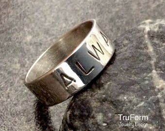 Valentine MESSAGE RING - Valentine Gift, Valentine Jewelry, Sterling Silver Ring, Message Ring, Custom Silver Ring, Love Ring, VMR9