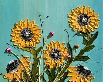 SALE Original Modern Yellow Sunflowers  Acrylic  Heavy  Impasto Palette Knife   Painting .