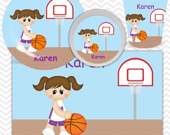 Basketball Girl Plate, Bowl, Cup, Placemat - Personalized Basketball Dinnerware for Kids - Custom Tableware