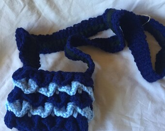 Dark and Light Blue Crocheted Dragon Scales 4x6 Cellphone Tote with Black Lining