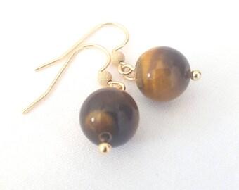 Tigerseye gold filled earring