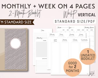 STANDARD Size Monthly-Week on 4 Pages Vertical Printable Booklet Insert - Good for 2 Months
