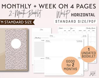 STANDARD Size Monthly-Week on 4 Pages Horizontal Printable Booklet Insert - Good for 2 Months
