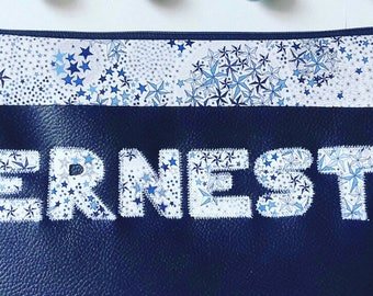 Custom toiletry bag / letters in Liberty fabric