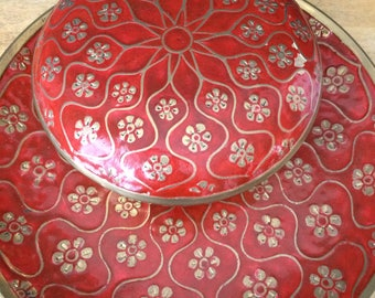 India solid brass & red enamel flower plate