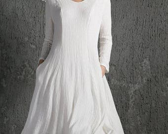 White Linen Dress, linen dress, long sleeve white dress, long floaty dress, evening dress, dress, womens dresses, long dress C642