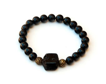 Black tourmaline anklet,tourmaline jewelry, yoga anklet, healing anklet, energy anklet, tourmaline mala, womens anklets, beaded anklets