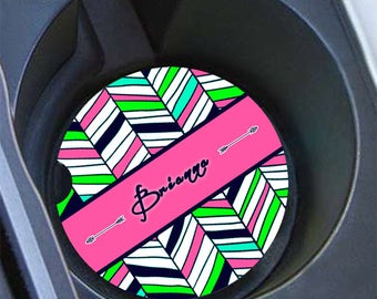 Monogram pink car coaster, Personalized auto cup holder coaster (1427)
