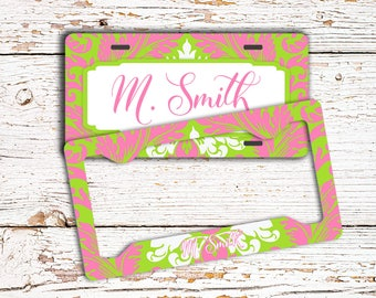 Preppy lime green and pink, Damask front license plate or frame personalized, Monogrammed gift for mom, New car driver gift (1781)