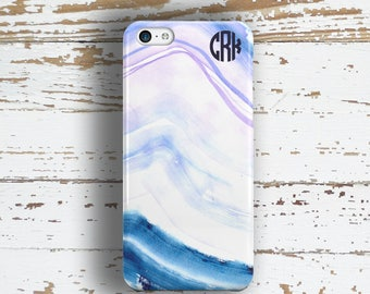 Unique gift for daughters, Abstract Iphone 5c case, Shades of blue watercolor print (1352)