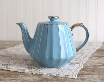 Vintage Blue Sadler Teapot, Cornflower Blue Teapot, Blue Teapot with Gold Trim, Country Blue Teapot, French Country Teapot